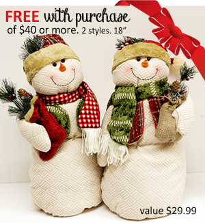 Free snowman plush with purchase