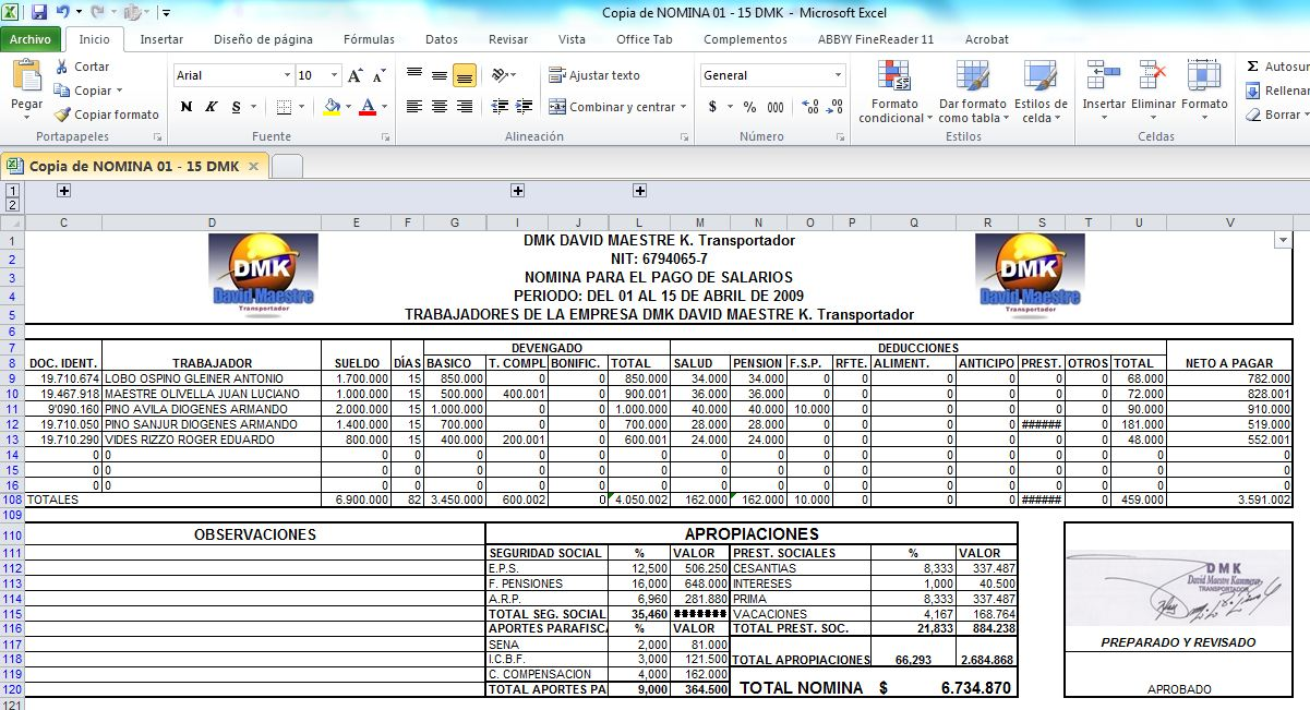 Clase con pino abril 2013 for Nomina en excel xls