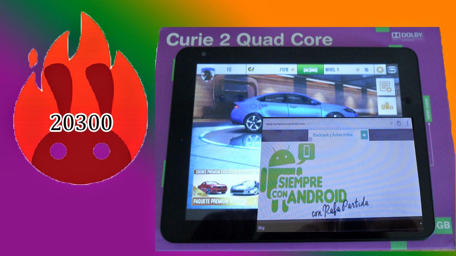 Test de Rendimiento Antutu, de la tablet BQ Curie 2 Quad Core, da 20300 puntos.