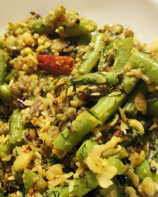 Mung Beans, Toor Dal, Green Beans and Fresh Dill Palya