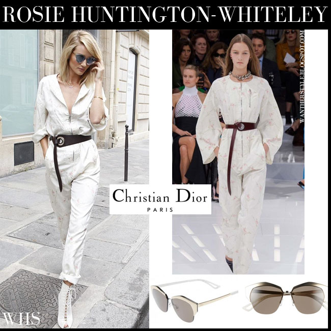 Rosie Huntington-Whiteley in white floral zip belted jumpsuit with mirrors cat eye Dior sunglasses what she wore july 5 streetstyle
