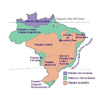 o relevo brasileiro segundo  Aziz Ab Saber