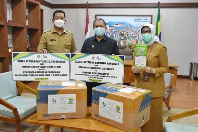 Kota Bandung Terima 20.000 Masker dari Sister City Suwon