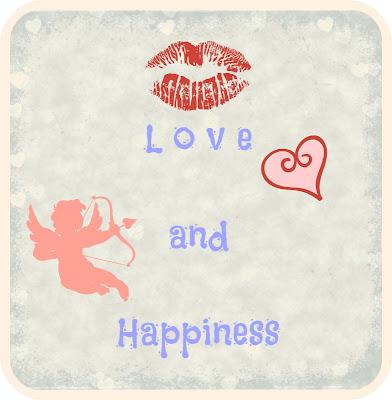 """Imagem de banner """"Love and Happiness"""", com cupido, marca de beijo e coração."""