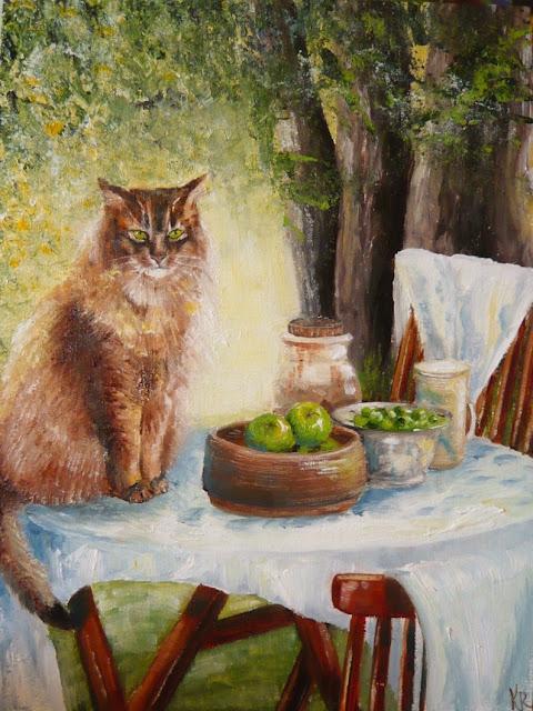 oil painting of Garden scene with cat, pet portrait by karen