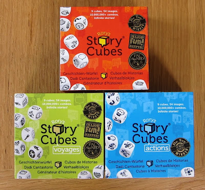 Rory's Story Cubes the boxes for the three sets