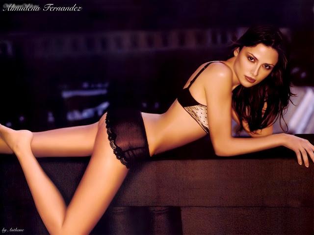 Almudena Fernandez in black lingerie