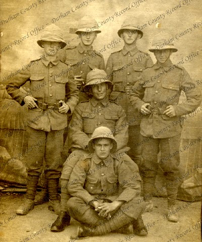 A group of soldiers of the 18th Battalion, The Durham Light Infantry, captioned 'Taken at Port Said', December 1915 (D/DLI 7/797/2(32))