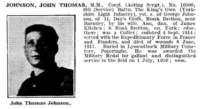 Johnson, John Thomas.  MM Corpl (Acting Sergt).  No 16000, 8th (Service) Battn the Kings Own (Yorkshire Light Infantry).