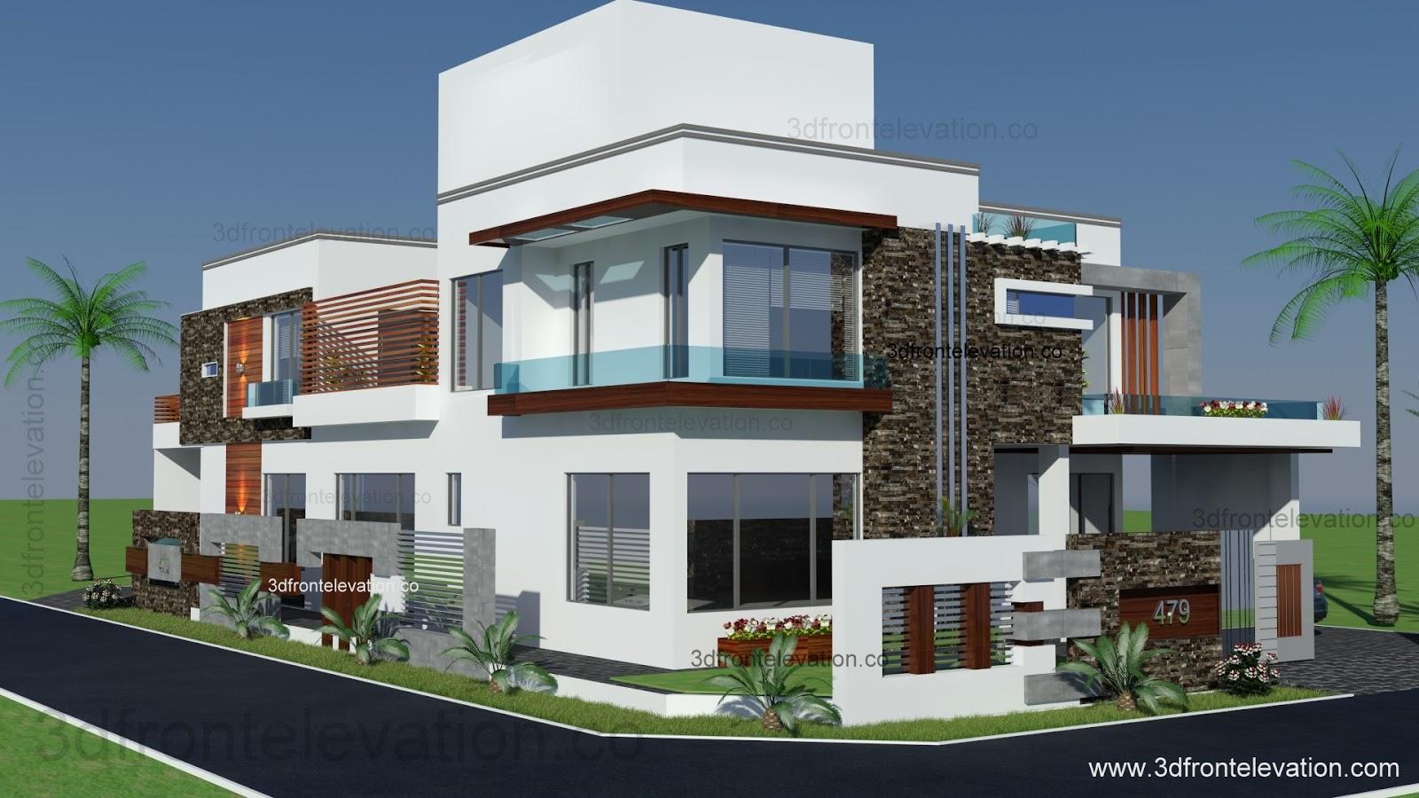 3d Front Elevation Corner House : D front elevation square yards house plan