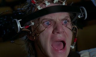 Malcolm McDowell in Kubrick's A Clockwork Orange, Eye Stretched, Ultraviolent, Experirment, Forced to Watch