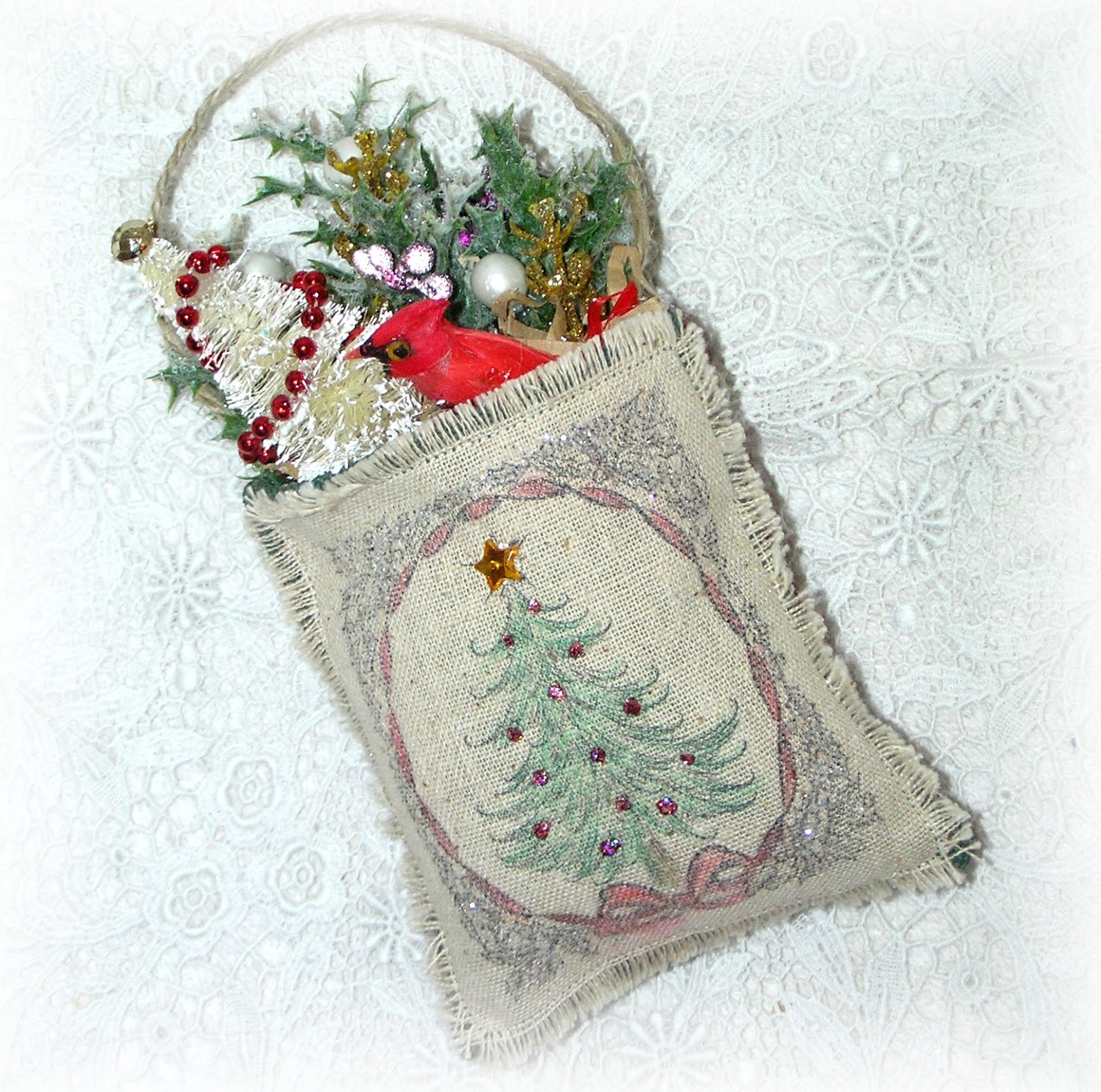 Kitty and me designs cardinal tree ornaments