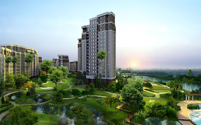 Unidad habitacional con extensas áreas verdes