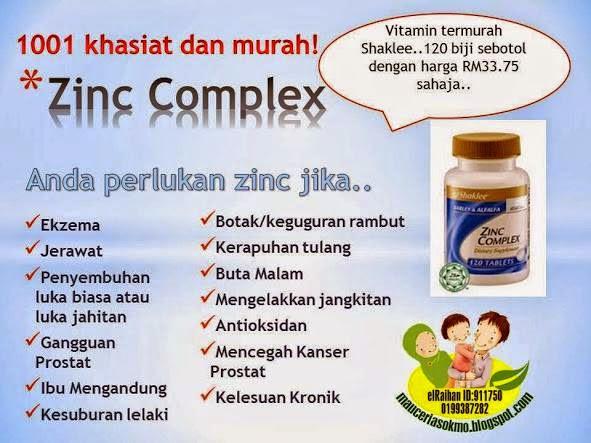Khasiat Zinc Complex Shaklee