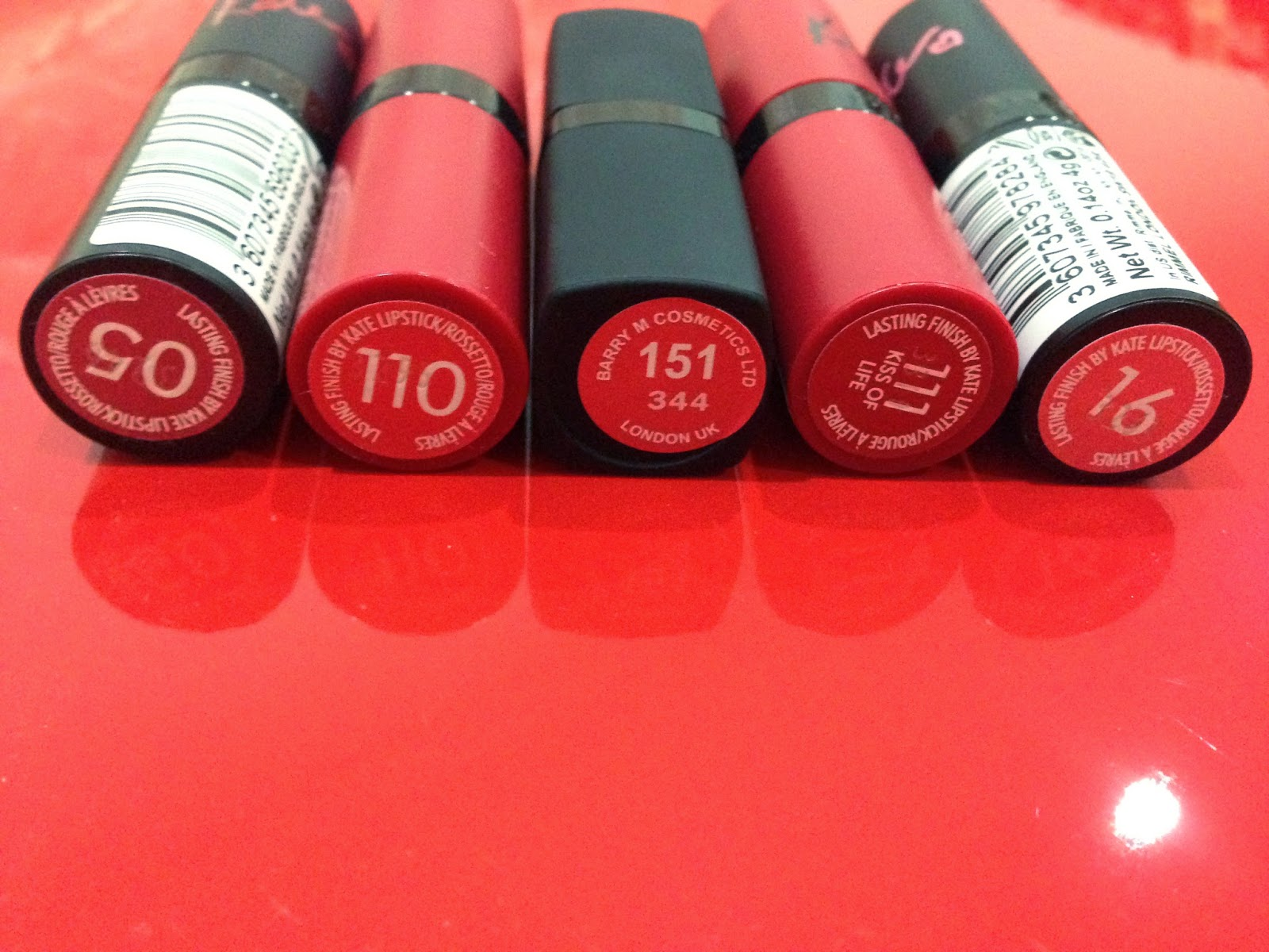Rimmel Kate Lipsticks and Barry M Lip Paint Shades