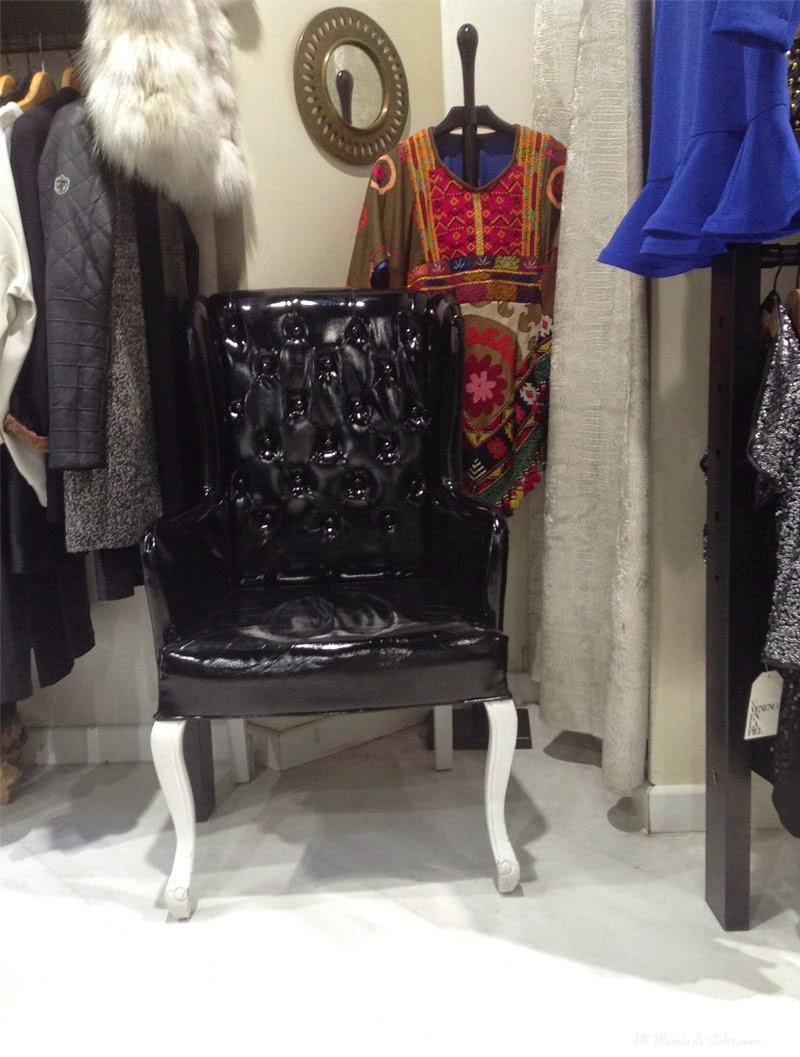 silla de cuero brillante
