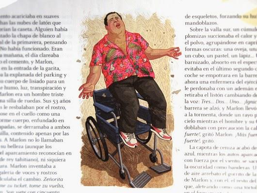 un gordo en silla de ruedas