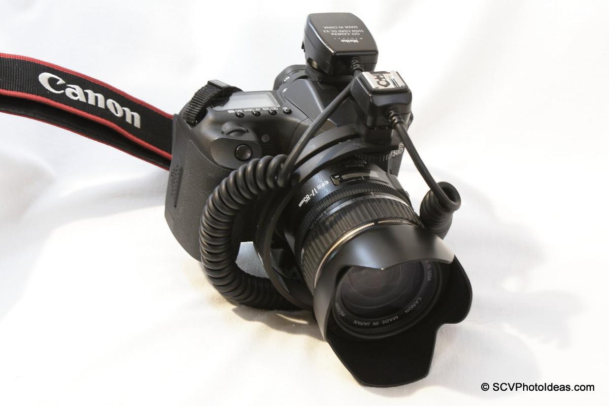 Boling C-Shape Flash Bracket w/ clamp mount on EOS 50D & off camera flash cord