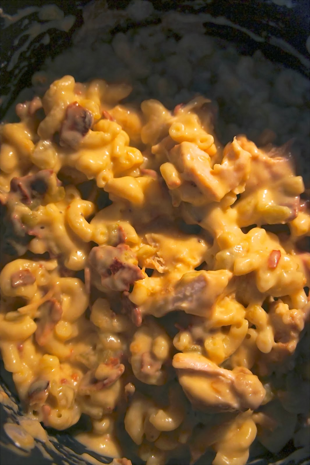 Savory Sweet and Satisfying: Green Chili, Chicken and Bacon Macaroni and Cheese