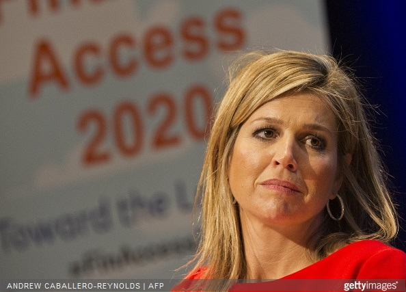 Queen Maxima of the Netherlands looks on during a meeting for 'Universal Financial Access 2020' at the IMF/WB Spring Meetings in Washington, DC