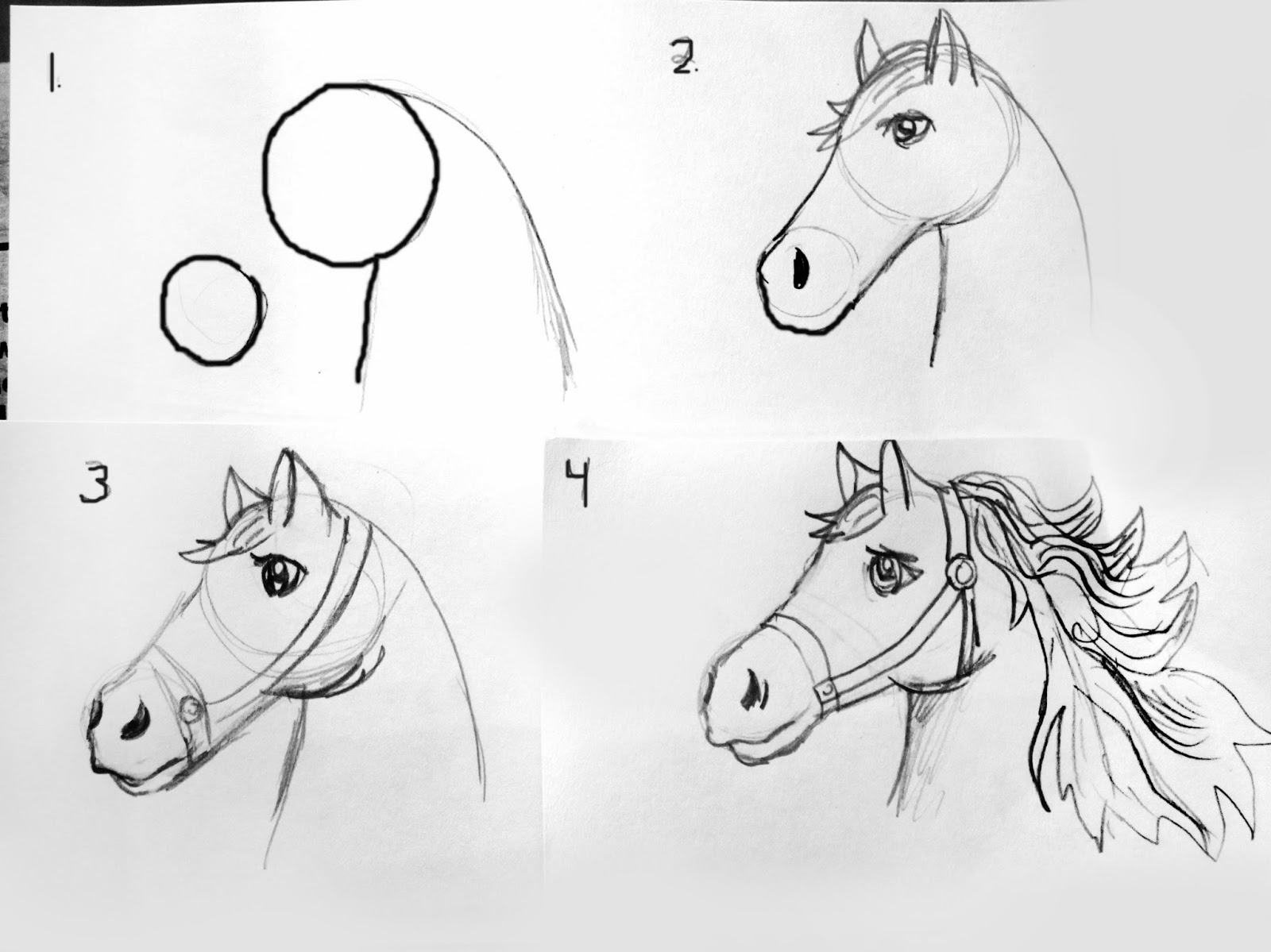 Smart class 2014 year of the horse for Drawing ideas for beginners step by step