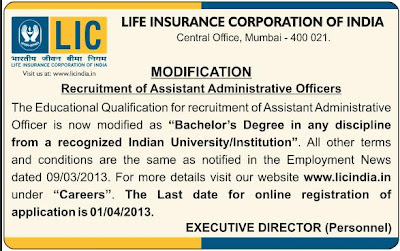 LIC AAO 2013 Recruitment Challan, Exam Details, Syllabus