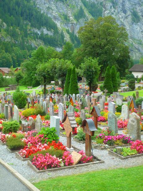 Flower Beds Filling Each Burial Plot In Cemeteries Swiss