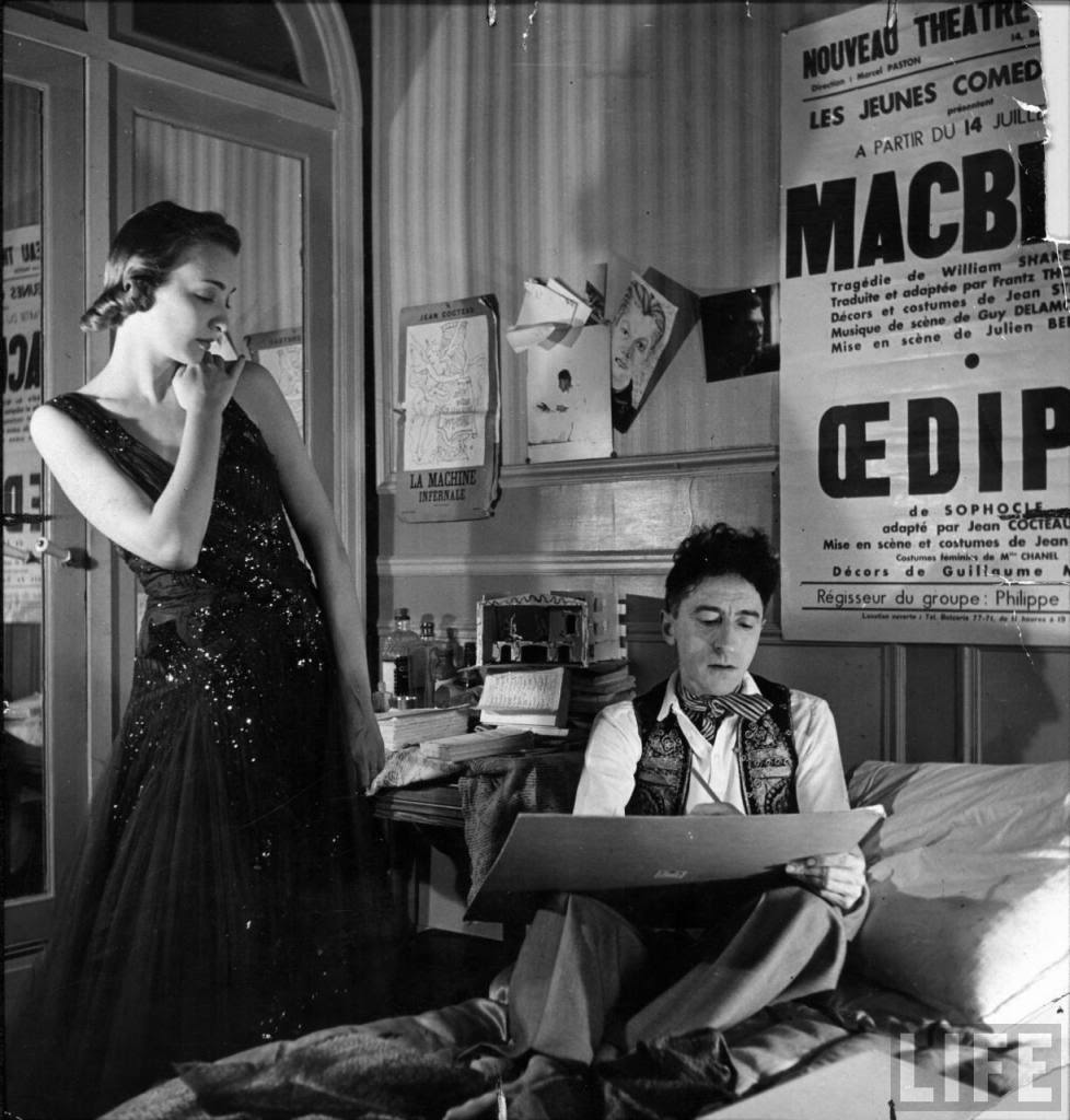 Jean Cocteau with Model in Chanel dress 1930s