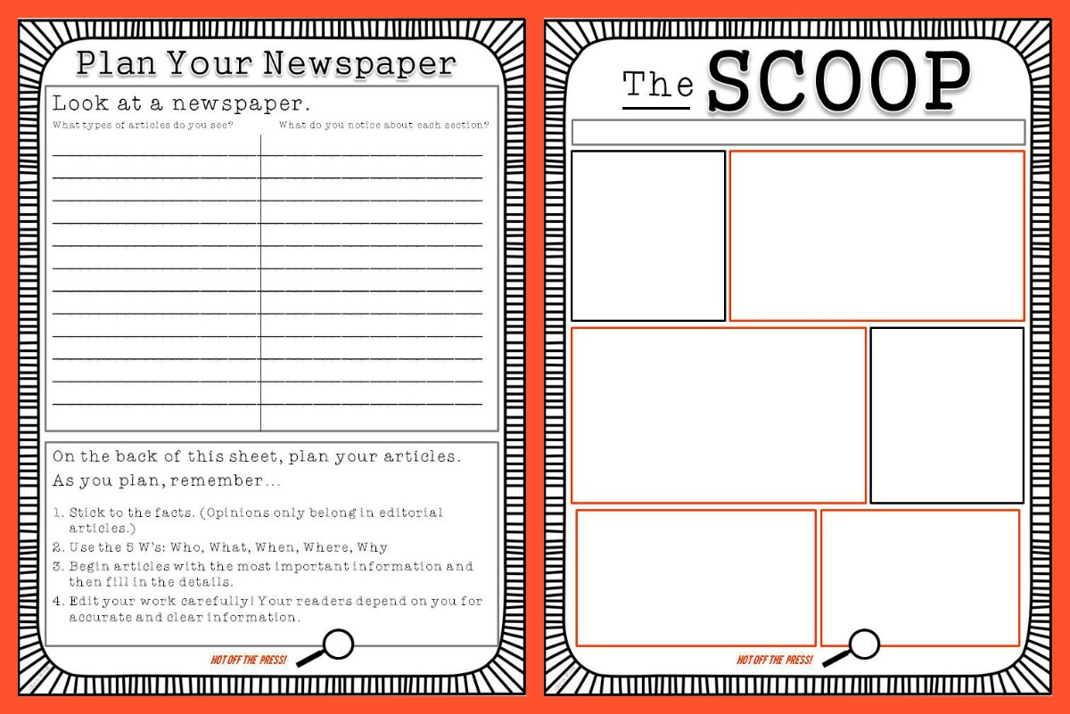 Student newspaper template classroom freebies for Free printable newspaper template for students