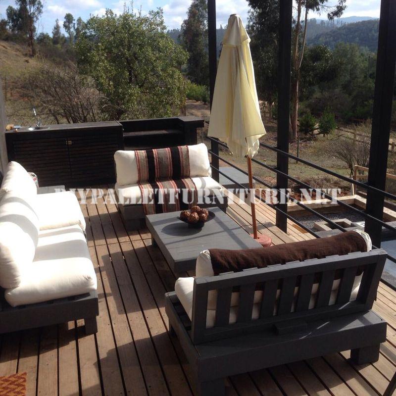 Set de muebles con palets para la terraza - Sillones para terrazas ...