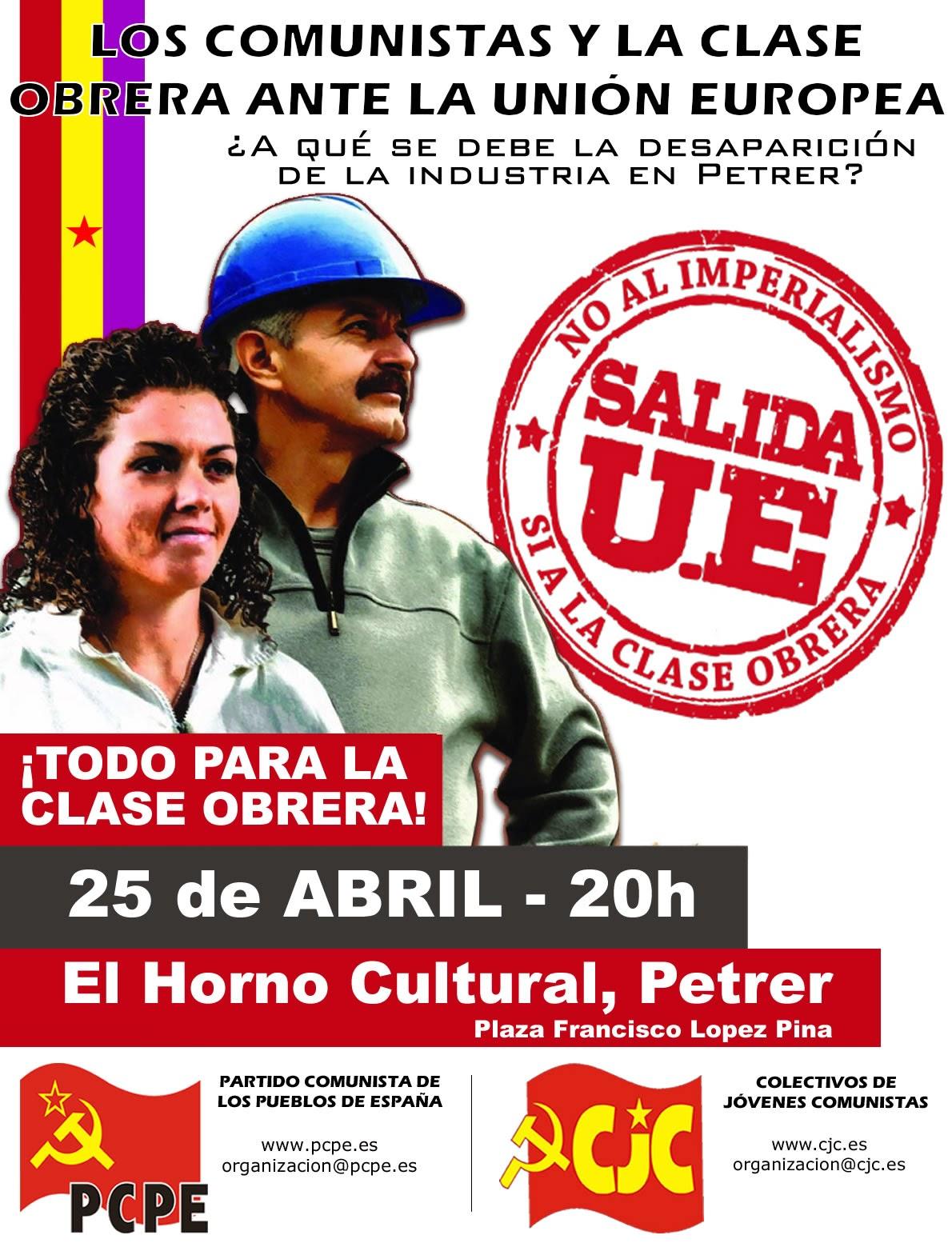 [PCPE] Acto en Petrer, los comunistas y la clase obrera ante la UE Cartel+petrer
