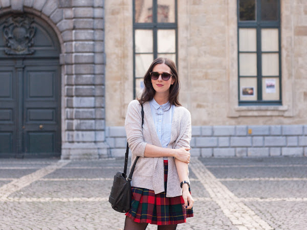 Outfit: plaid mini skirt, patent brogues