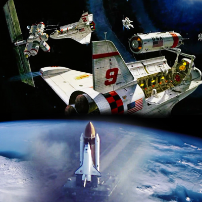 Atlantis – STS135 – Graphical concept from the creation of Atlantis in 1985. At the bottom image of Atlantis in the mist. NASA-TV 2011.