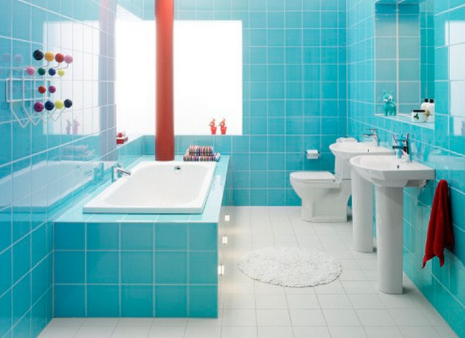 Modern and Beautiful Bathrooms Design Ideas with Blue Shades HAG