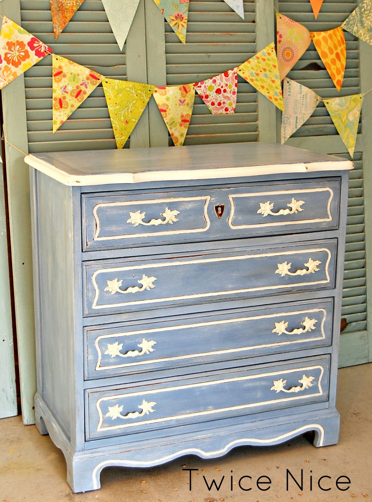 This Is Actually A Custom Mix Of American Paint Companyu0027s U0027Blue Jeansu0027. I  Based This Cute Little Dresser In APCu0027s Navajo White, Then Mixed More Of  The White ...