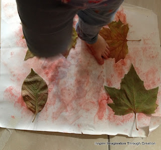 Painting leaves with feet