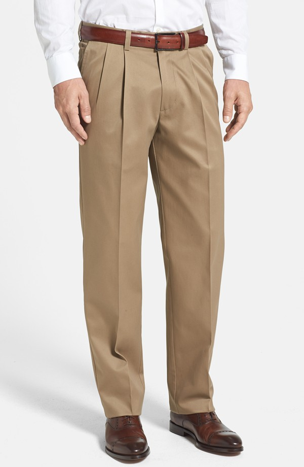 Men's Tan Pleated Pants