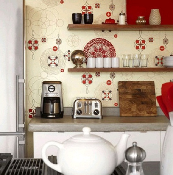 Country kitchen wallpaper design ideas - Kitchen ideas with wall ...