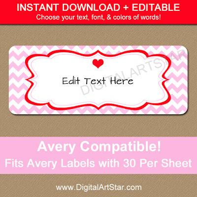 printable pink valentines day return address labels