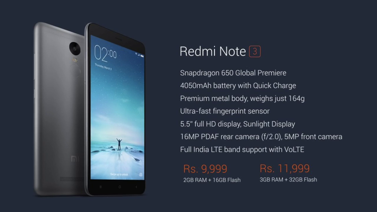 Redmi Note 3 In India Perfect Phone Detail Xiaomi Ram 2 16 Gb Pehla Aata Hai 2gb Aur 16gb Internal Storage Ke Sath 9999 Inr