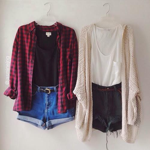 Colorful red shirt, black blouse, denim shorts and oversize cardigan combination for fall