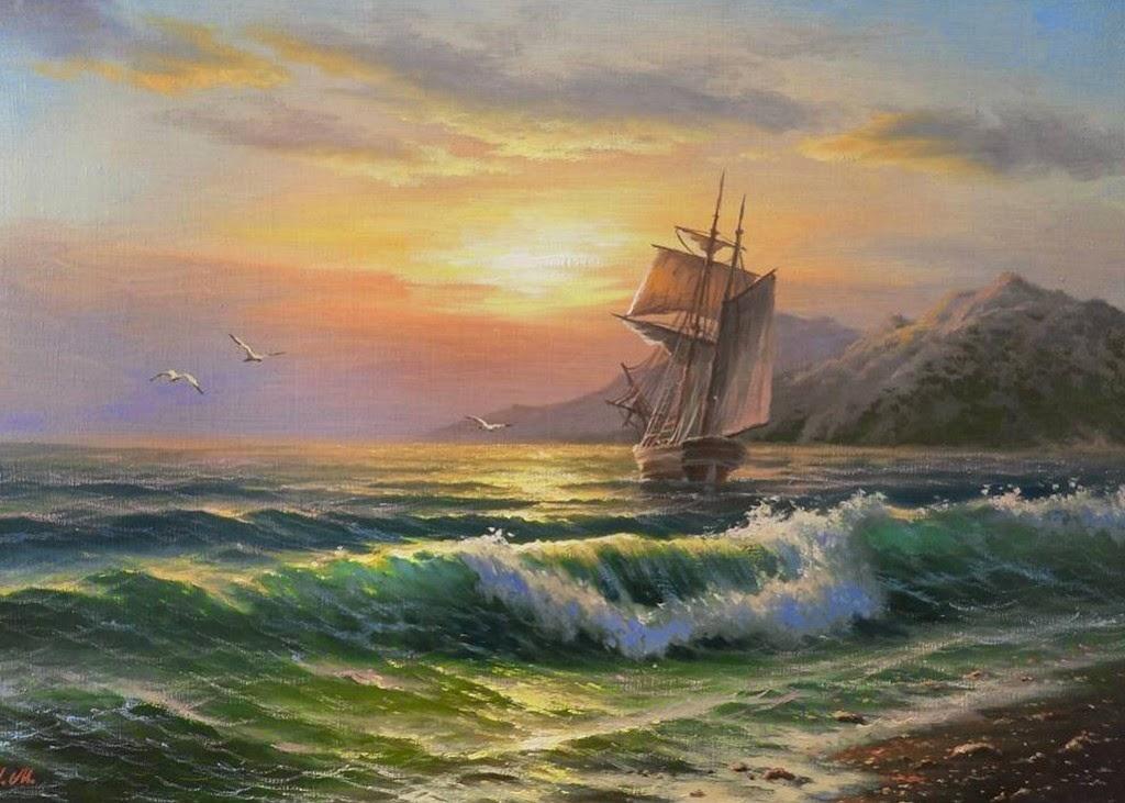 Paisajes de barcos en el mar pintados al oleo car for Cuadros pintados al oleo