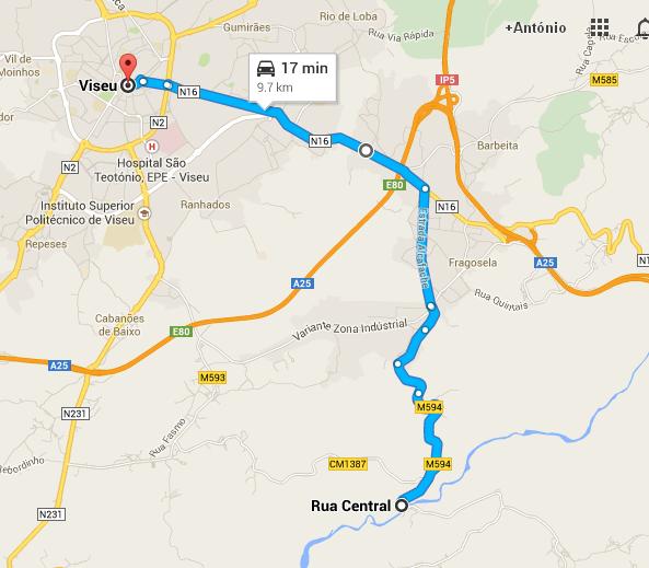 Mapa de Viseu a Alcafache