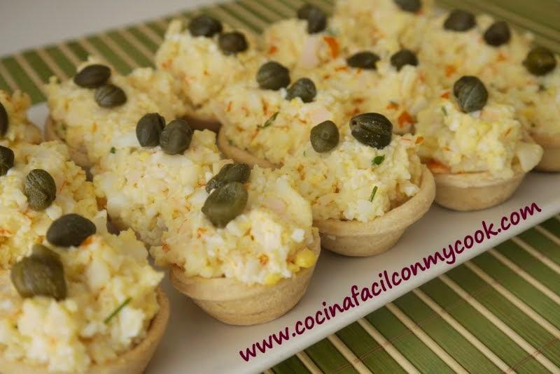 Mis recetas mycook tartaletas o canap s de cangrejo for Canape de cangrejo