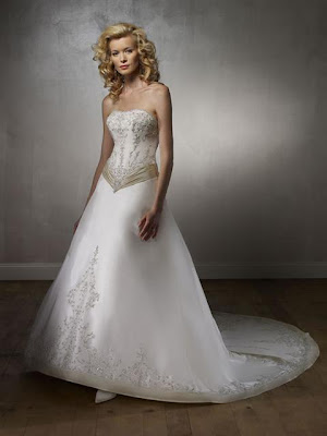 A-Line Strapless Embroidery Cathedral Train Taffeta Bridal Gowns