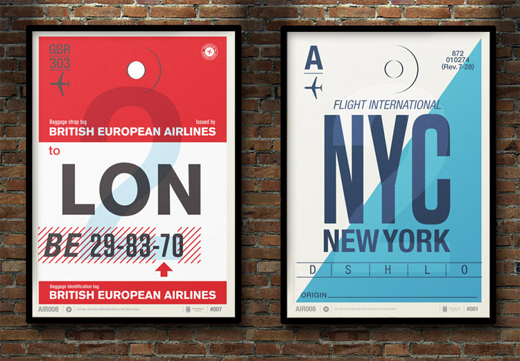 Flight Tag Prints by Neil Stevens &#8226; London &amp; New York
