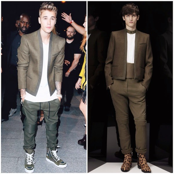 Justin Bieber wears Balmain Homme Fall Winter 2014 khaki military green cropped jacket in Paris September 2014