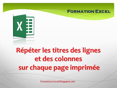 Répéter les titres des lignes et des colonnes sur chaque page imprimée