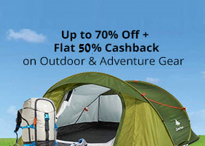 PayTM  : Buy Outdoor & Adventure Gear Extra 50% Cashback