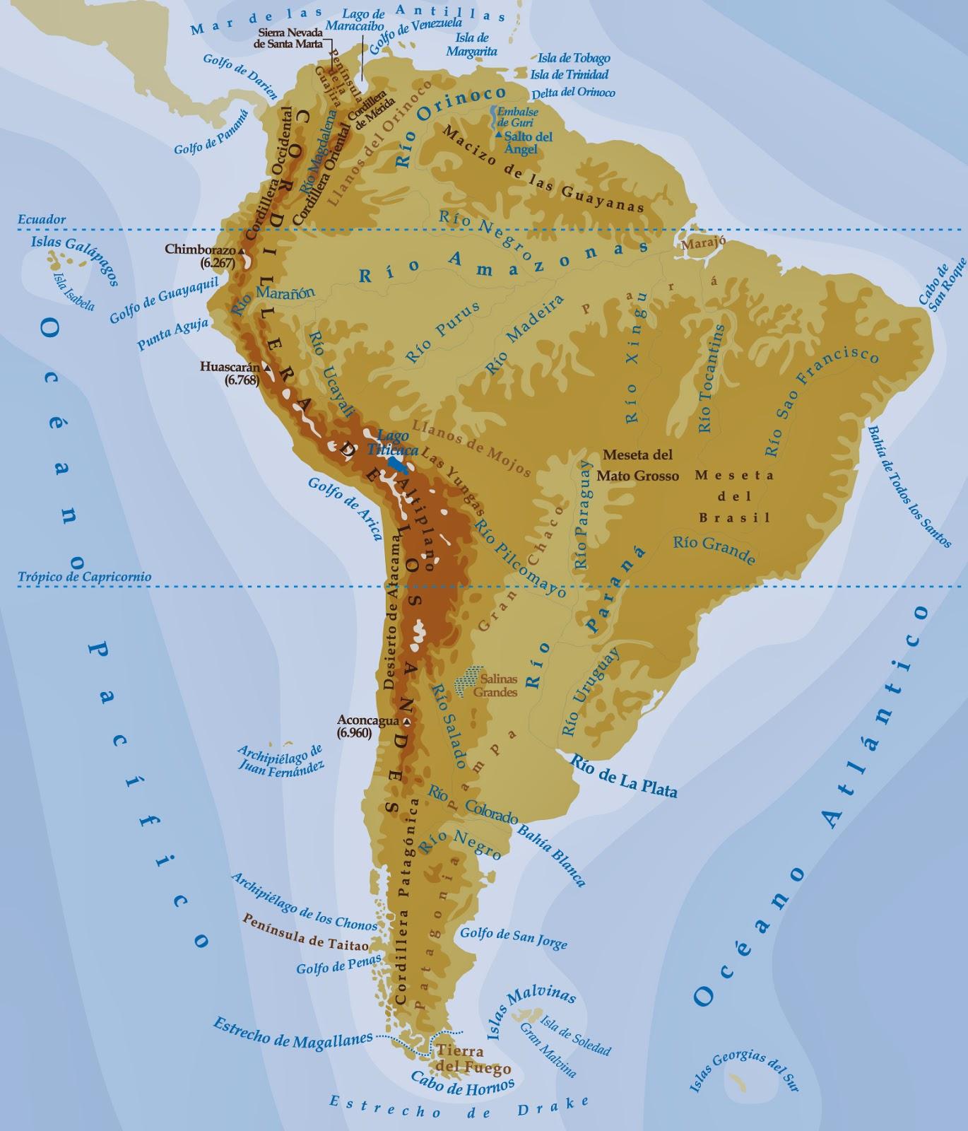La alacena de las Ciencias Sociales Mapa fsico de Amrica